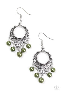 "Paparazzi ""Uncatchable"" Green Bead Silver Filigree Earrings Paparazzi Jewelry"