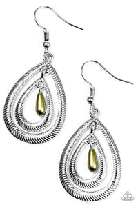 "Paparazzi ""Tranquil Teardrops"" Green Pearly Bead Teardrop Frame Silver Tone Earrings Paparazzi Jewelry"