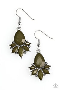 "Paparazzi ""Glam Up"" Green Bead Silver Frame Earrings Paparazzi Jewelry"