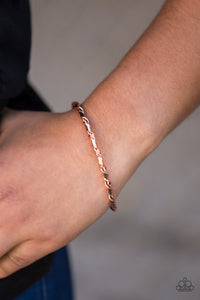 "Paparazzi ""Twisted Fate"" Copper Barbell Ribbon Design Bracelet Paparazzi Jewelry"