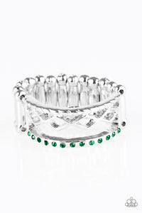 "Paparazzi ""Money Makin' Monday"" Green Rhinestone Silver Tone Ring Paparazzi Jewelry"