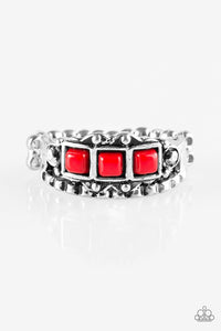 "Paparazzi ""Color Me EMPRESSed!"" Red Bead Silver Tone Ring Paparazzi Jewelry"