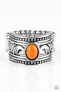 "Paparazzi ""Island Princess"" Orange Stone Ornate Silver Ring Paparazzi Jewelry"