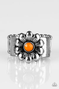 "Paparazzi ""Dreamy Fields"" Orange Bead Floral Frame Silver Tone Ring Paparazzi Jewelry"