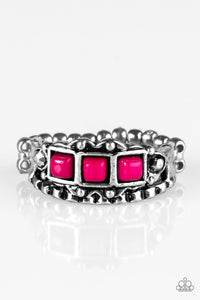 "Paparazzi ""Color Me EMPRESSed!"" Silver Tone Square pink Beads Ring Paparazzi Jewelry"