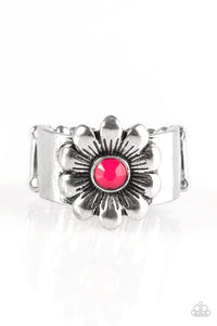 "Paparazzi ""Dreamy Fields"" Pink Bead Floral Frame Silver Tone Ring Paparazzi Jewelry"