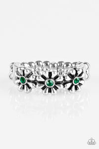 "Paparazzi ""Dancing Daisies"" Green Rhinestone Silver Flower Daisy Ring Paparazzi Jewelry"