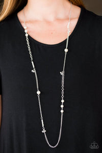"Paparazzi ""I Stil-etto Believe!"" White Pearly & Crystal Style Beads Silver Tone Necklace & Earring Set Paparazzi Jewelry"
