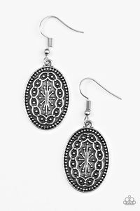 "Paparazzi ""Ancient Wonders"" Silver Tone Tribal Pattern Earrings Paparazzi Jewelry"
