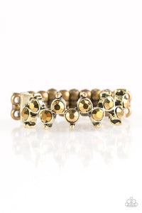 "Paparazzi ""Shine Like The Stars"" Brass Frame AUrum Rhinestone Ring Paparazzi Jewelry"