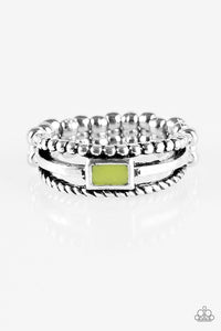 "Paparazzi ""Street Edge"" Green Accent Silver Ring Paparazzi Jewelry"