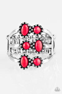 "Paparazzi ""Sticks and STONEHENGE"" Red Stone Silver Frame Ring Paparazzi Jewelry"