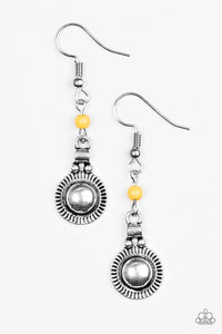 "Paparazzi ""Santa Fe Sunrise"" Yellow Bead Silver Sunburst Design Earrings Paparazzi Jewelry"