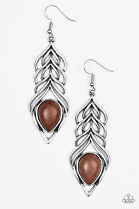 "Paparazzi ""Swinging Sparrow"" Brown Stone Feather Design Silver Earrings Paparazzi Jewelry"