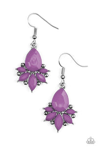 "Paparazzi ""Glam Up""Purple Bead Silver Frame Earrings Paparazzi Jewelry"