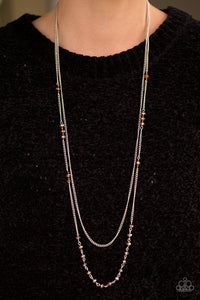 "Paparazzi ""Rich With Glitz"" Brown Crystal Like Bead Silver Necklace & Earring Set Paparazzi Jewelry"
