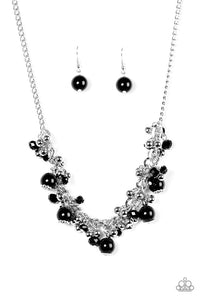 "Paparazzi ""A Pop of Posh"" Black and Silver Bead Necklace & Earring Set Paparazzi Jewelry"