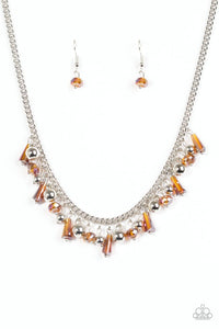 "Paparazzi ""Twinkling Treasure Trove"" Brown Crystal Bead Silver Necklace & Earring Set Paparazzi Jewelry"