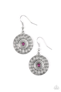 "Paparazzi ""Sonoran Spiral"" Purple Bead Tribal Pattern Silver Tone Earrings Paparazzi Jewelry"