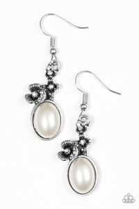 "Paparazzi ""Floral Finery"" White Bead Silver Flower Rhinestone Earrings Paparazzi Jewelry"