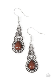 "Paparazzi ""Looking Suave"" Brown Bead Ribbon Design Silver Tone Earrings Paparazzi Jewelry"