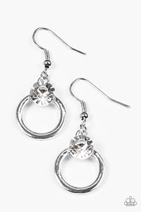 "Paparazzi ""FAME On"" White Rhinestone Silver Hoop Earrings Paparazzi Jewelry"