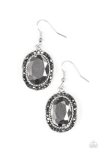 "Paparazzi ""Queen of Queens"" Silver Frame Hematite Gem Earrings Paparazzi Jewelry"