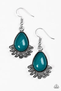 "Paparazzi ""Island Inspiration"" Blue Bead Silver Tone Flare Earrings Paparazzi Jewelry"