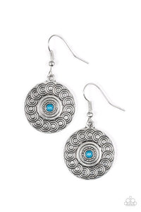 "Paparazzi ""Sonoran Spiral"" Blue Bead Tribal Pattern Silver Tone Earrings Paparazzi Jewelry"