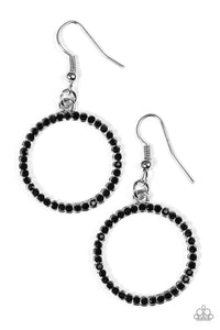 "Paparazzi ""Champagne Chic"" Black Rhinestone Silver Hoop Earrings Paparazzi Jewelry"