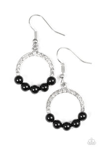 "Paparazzi ""All Time GLOW"" Black Bead White Rhinestone Hoop Earrings Paparazzi Jewelry"