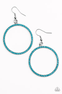 "Paparazzi ""Spring Party"" Blue Bead Silver Hoop Earrings Paparazzi Jewelry"