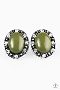 "Paparazzi ""Whats Yours Is Mine"" Green Bead White Rhinestone Silver Post Earrings Paparazzi Jewelry"