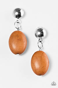"Paparazzi ""Stone Cliffs"" Brown Stone Silver Post Earrings Paparazzi Jewelry"