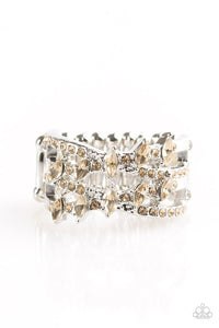 "Paparazzi ""Shimmering Success"" Brown Marquise Rhinestone Silver Ring Paparazzi Jewelry"