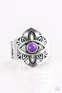 "Paparazzi ""That's What EYE Want!"" Purple Bead Tribal Eye Design Silver Tone Ring Paparazzi Jewelry"