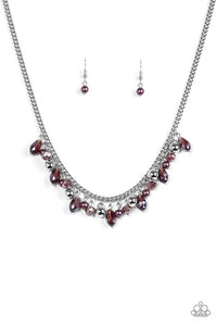 "Paparazzi ""Glammed If I Do, Glammed If I Don't"" Purple Bead Silver Chain Necklace & Earring Set Paparazzi Jewelry"