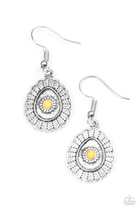 "Paparazzi ""Magnificently Mayan"" Yellow Bead Scalloped Silver Tone Earrings Paparazzi Jewelry"