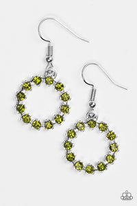 "Paparazzi ""Be Bubbly"" Green Glittery Rhinestone Earrings Paparazzi Jewelry"