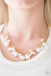 "Paparazzi ""Celebrity Treatment"" Gold Tone Faux Pearl Necklace & Earring Set Paparazzi Jewelry"