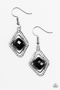 "Paparazzi ""See You In Court"" Black Gem Rhinestone Silver Earrings Paparazzi Jewelry"