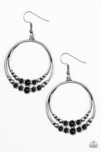 "Paparazzi ""Spiraling Serenity"" Black Bead Silver Stud Hoop Earrings Paparazzi Jewelry"