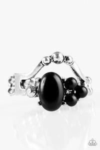 "Paparazzi ""BEAD What You Want To BEAD"" Black Bead Silver Frame RIng Paparazzi Jewelry"