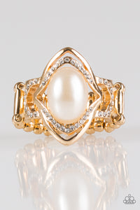"Paparazzi ""Positively Posh"" Gold Frame White Pearly Bead Rhinestone Ring Paparazzi Jewelry"