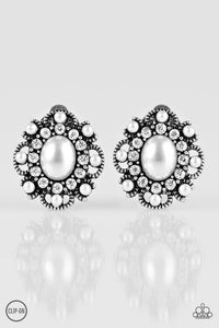 "Paparazzi ""Blooming Romance""  White Clip-On Pearl Rhinestone Earrings Paparazzi Jewelry"