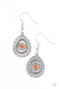 "Paparazzi ""Magnificently Mayan"" Orange Bead Scalloped Silver Tone Earrings Paparazzi Jewelry"