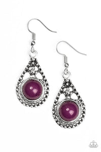 "Paparazzi ""Not All Hue Wander"" Purple Bead Silver Teardrop Earrings Paparazzi Jewelry"