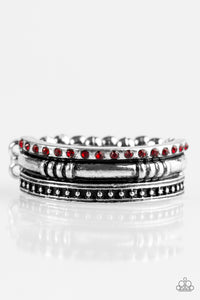 "Paparazzi ""Safari Shimmer"" Red Rhinestone Silver Ring Paparazzi Jewelry"