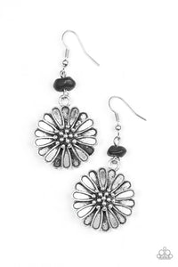 "Paparazzi ""Prairie Garden"" Black Pebble Floral Frame Earrings Paparazzi Jewelry"