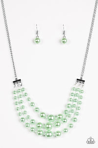 "Paparazzi ""Spring Social"" Green Pearl Crystal Bead Silver Necklace & Earring Set Paparazzi Jewelry"